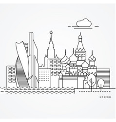linear moscow russia flat one line style trendy vector image
