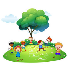 Many children playing hopscotch in the park vector image