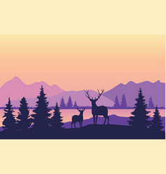 mountains background with deer vector image