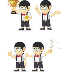 Nerd Boy Customizable Mascot 4 vector image