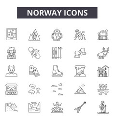 norway line icons signs set outline vector image