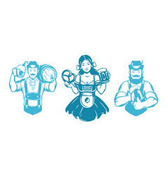 oktoberfest people man and woman silhouettes in vector image