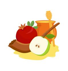 Pomegranate and apple shofar and honey pot vector