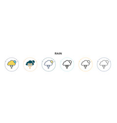 rain icon in filled thin line outline and stroke vector image