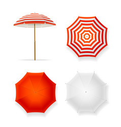 realistic detailed 3d sun umbrella set vector image