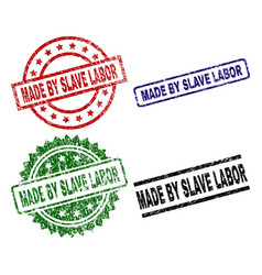 Scratched textured made by slave labor stamp seals vector