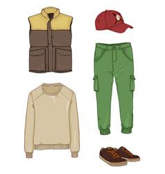 Set cartoon men clothing vector