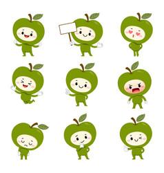 Set cute green apple cartoon characters vector