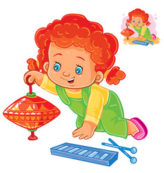 Set icons small girls playing with toys vector