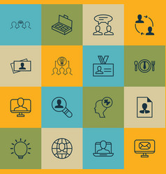 Set of 16 business management icons includes cv vector