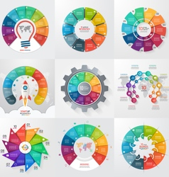 Set of 9 circle infographic templates with 10 vector