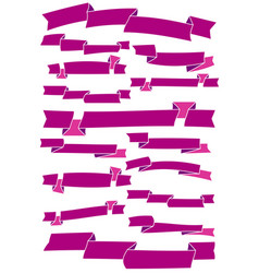 set of fifteen purple cartoon ribbons and banners vector image