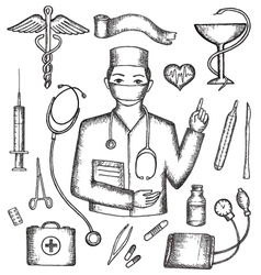 Set of medical supplies hand-drawn vector image
