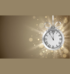shiny background with silver clock hanging on vector image