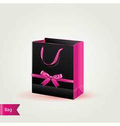 Shopping bag with cute bow isolated vector image
