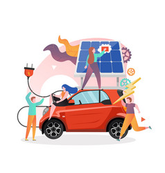 solar powered electric car charging station vector image