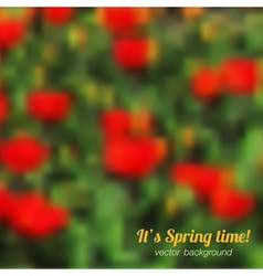 Spring background with red tulips vector