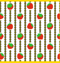 Strawberry and vertical chain repeat print vector