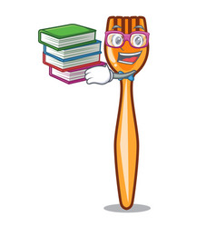 student with book plastic fork on cartoon image vector image