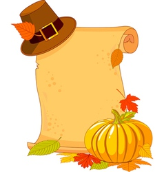 thanksgiving day scroll with pilgrim hat and pumpk vector image