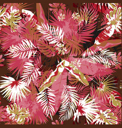 Tropical floral seamless palm trees pattern vector