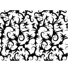 Tropical vine black and white seamless pattern vector