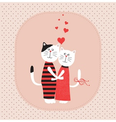 Two white cats in love vector image