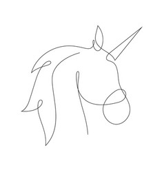 Unicorn in one line style vector
