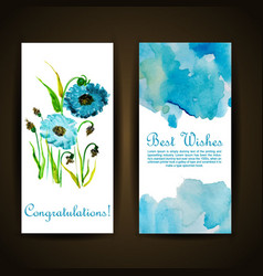 watercolor floral greeting card vector image