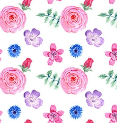 Watercolor flowers in vintage style vector image