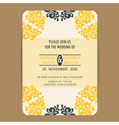 Wedding vintage wedding invitation card2 vector image