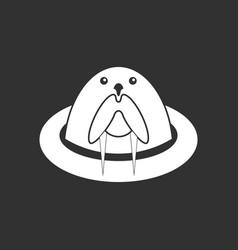 White icon on black background antarctic seals vector