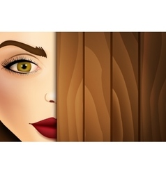 Woman peeking from wooden desk face close up vector
