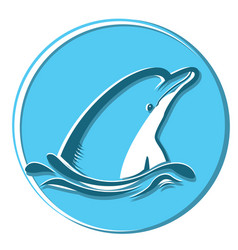 dolphin in sea symbol isolated on vector image vector image