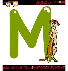 Letter m for meerkat cartoon vector