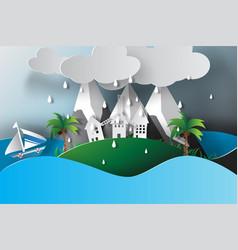 paper art of island sea view rainy season vector image