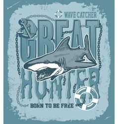 Shark on a colored background vector image