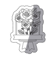 silhouette decorative emblem with oval roses icon vector image
