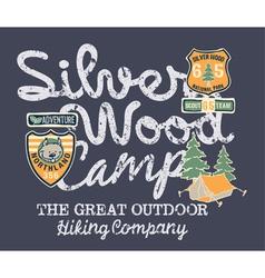 Silver wood camp hiking company vector image
