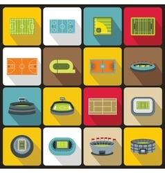 Sport stadium icons set flat style vector image vector image