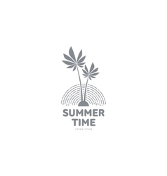 Black and white logo template with two palm trees vector image vector image