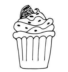 cake with lemon or orange cupcake drawn in vector image vector image