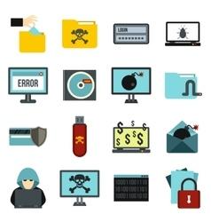 Criminal activity icons set flat style vector image