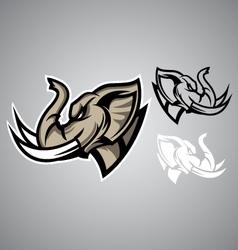 elephant head linethai emblem logo vector image