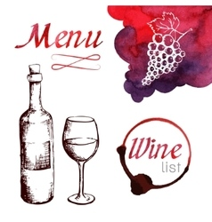 Sketch of wine with watercolor stains vector image