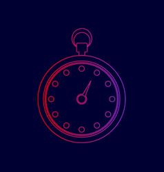 stopwatch sign line icon vector image