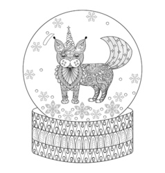 zentangle snow globe with maic cat like unicorn vector image vector image