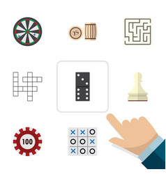 flat icon games set of pawn arrow poker and vector image vector image