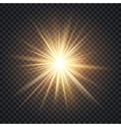 realistic starburst lighting effect yellow vector image vector image
