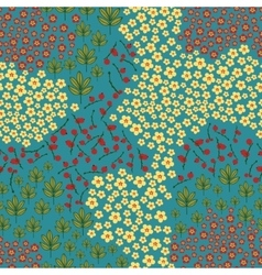 Seamless pattern with wildflowers leaves and vector image
